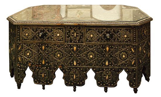 Moroccan Style Low Table With Drawers