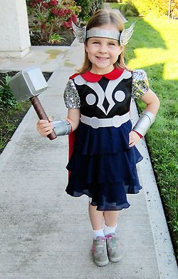 Tiny Princess Captain America is now Tiny Princess Thor. *dies of cuteness*