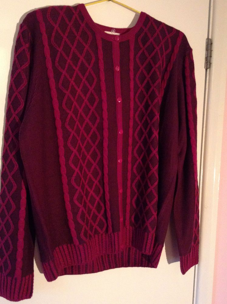 Country Casuals Plum patterned wool mix ladies cardigan, size L
