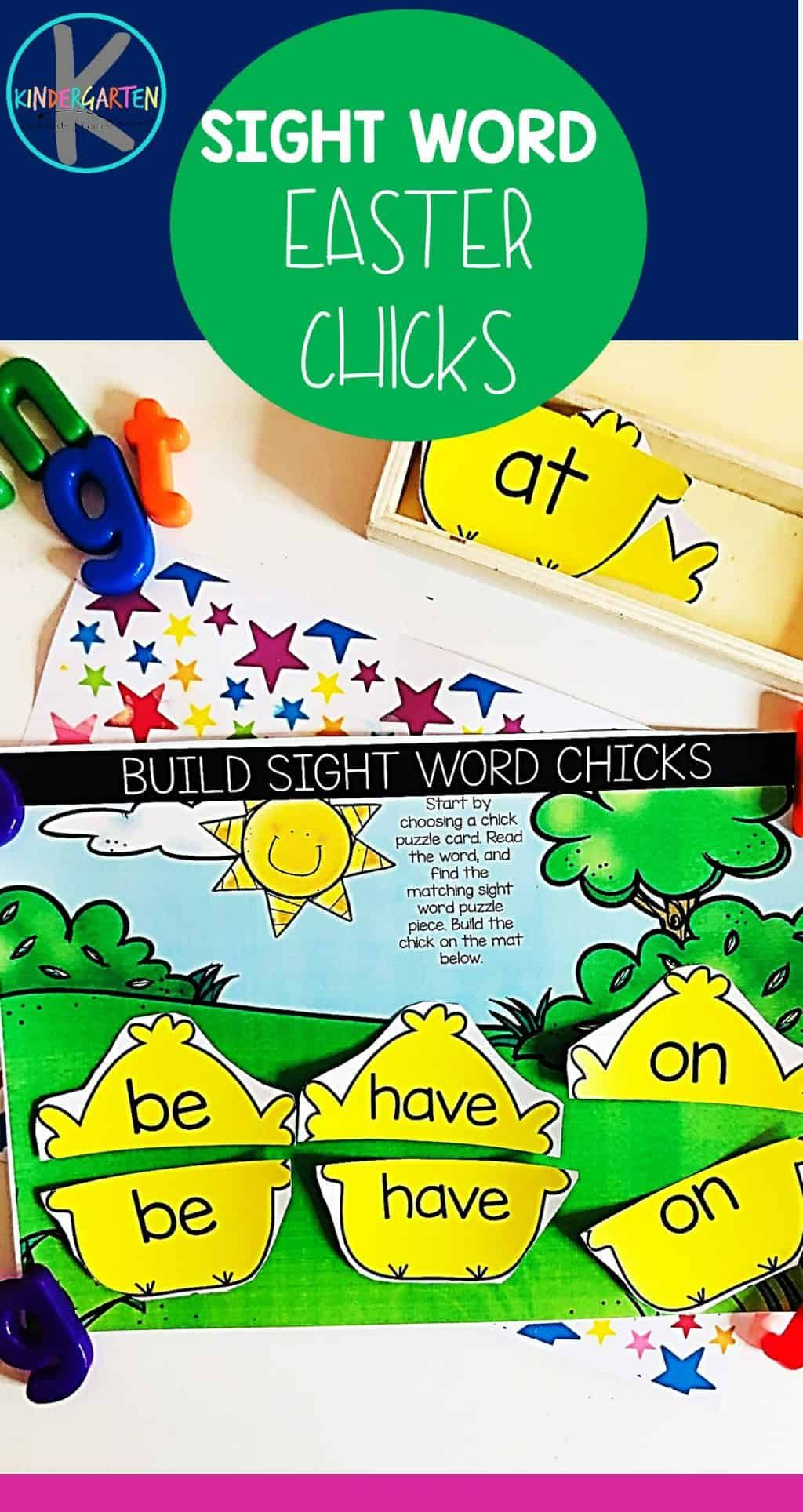 Free Sight Word Easter Chicks