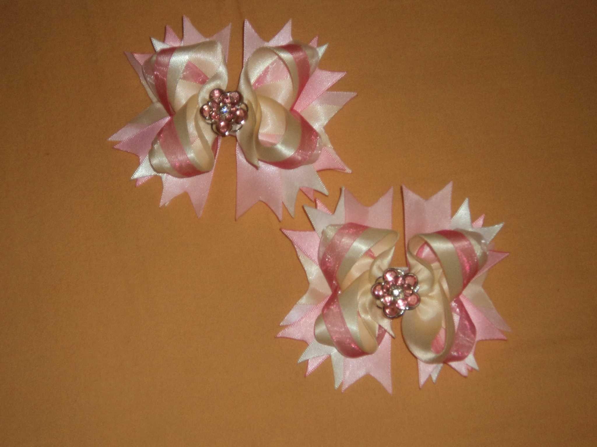 Pink Satin Flower Bows