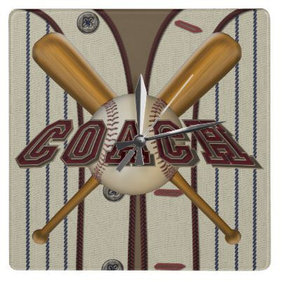 Coach Baseball and Bats Square Clock by tjssportsmania