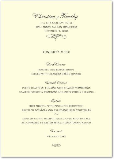 Classic Ecru Traditional Signature Ecru Menu Cards Wedding Paper Divas Black Front