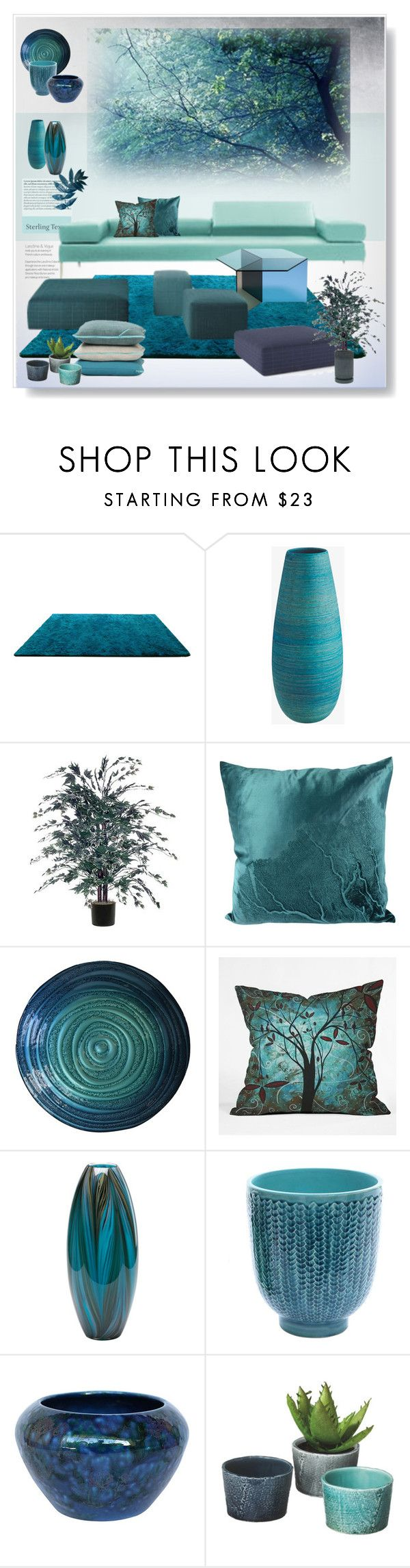 """""""Living Space"""" by snowbell on Polyvore featuring interior, interiors, interior design, home, home decor, interior decorating, Tiffany & Co., DENY Designs, Cyan Design and Dot & Bo"""