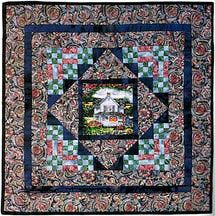 Use my pattern to make an easy miniature medallion quilt with a pictorial center that's surrounded by strip pieced nine-patch and bar blocks.