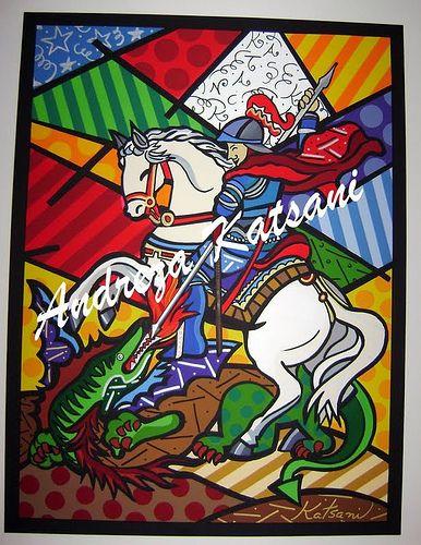 """Andreza Katsani -  SP - 60x80 - """"Salve Jorge"""" São Jorge Guerreiro - Pintura inspirada nas obras de Romero Britto -"""