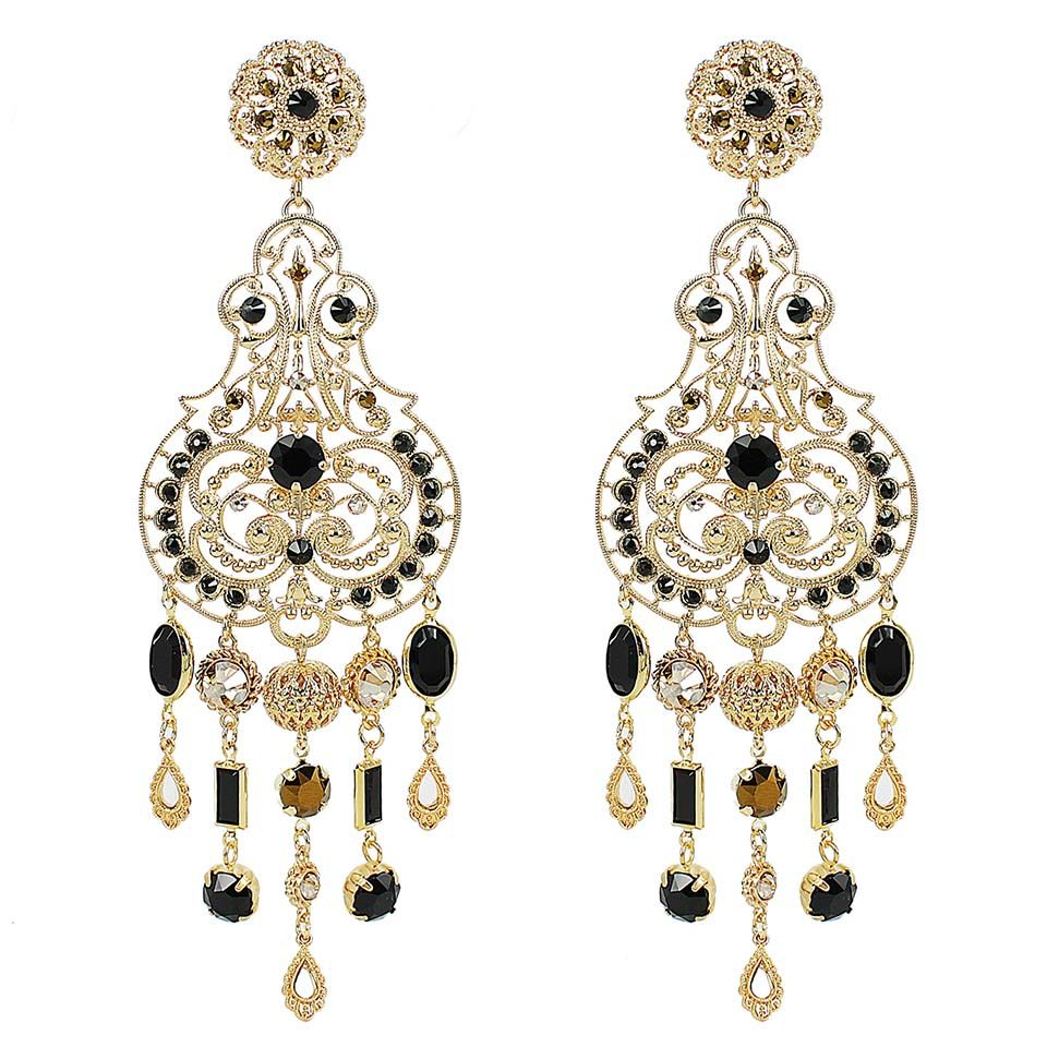 Large Chandelier Earrings Jet Claudia Baldazzi Milano