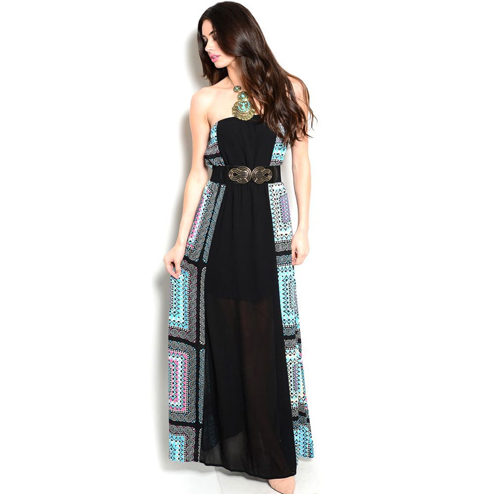 b2975671c5db Shop The Trends Women s Strapless Maxi Dress with Multicolor Panels Along  Sides and Stretch Belt