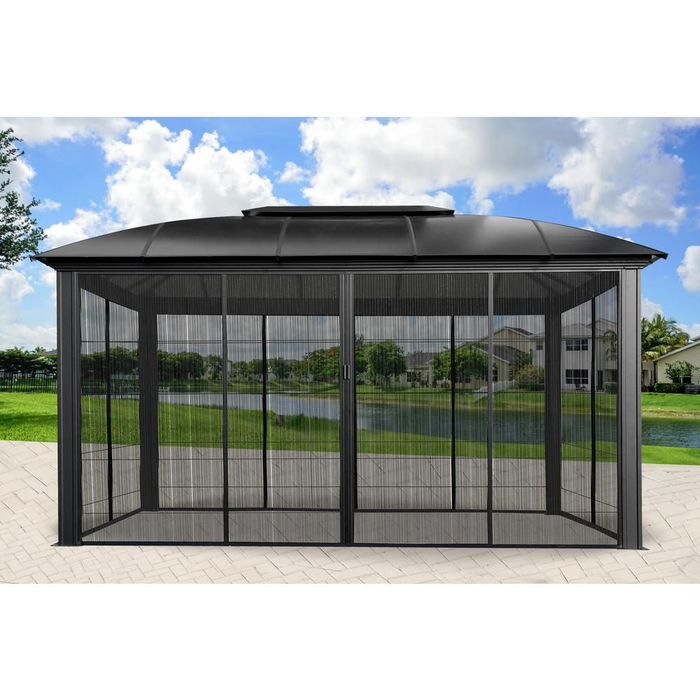 Paragon Outdoor Paragon 12 Ft X 16 Ft Aluminum Hard Top Gazebo With Sliding Screen Gz3dxls In 2020 Aluminum Gazebo Gazebo Outdoor