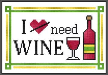 BUY 2, GET 1 FREE ! ~ I need wine cross stitch pattern by DollfaceEmbroidery on Etsy https://www.etsy.com/listing/385009452/buy-2-get-1-free-i-need-wine-cross