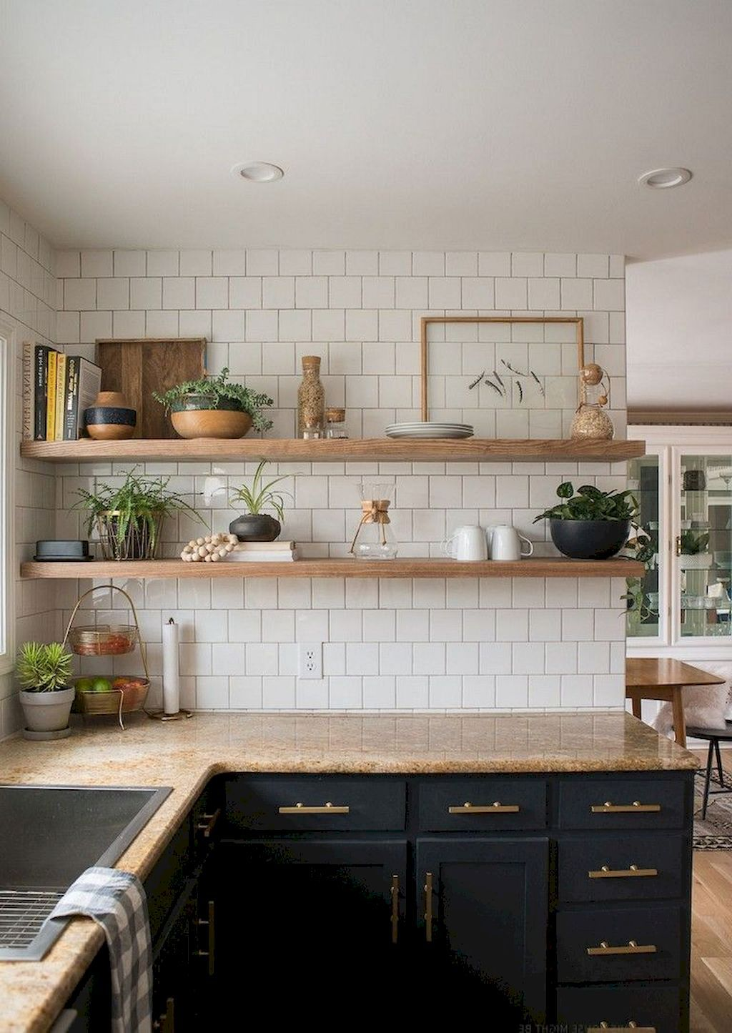 56 Awesome Farmhouse Kitchen Decor With Open Shelves Ideas Budget Kitchen Remodel Rustic Kitchen Kitchen Decor,Black White And Brown Living Room Ideas