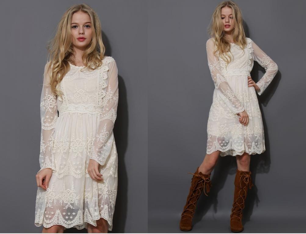 Koronkowa Sukienka Ecru Vintage Haftowana Boho 36 4389179710 Oficjalne Archiwum Allegro Long Sleeve Dress Fashion Dresses With Sleeves