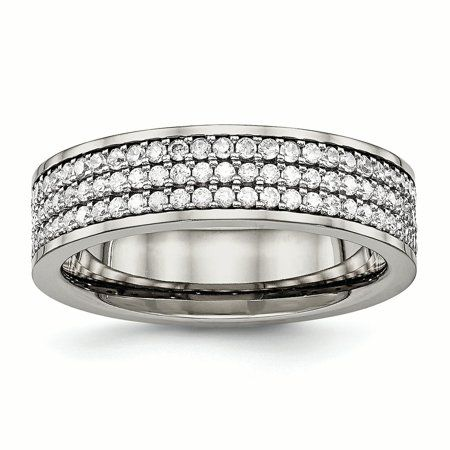 Diamond2Deal Stainless Steel Beveled Edge Black IP-Plated 8mm Brushed Band Ring Ideal Gifts for Women