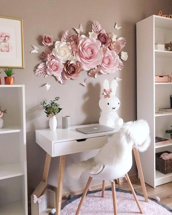 Papierblumen Wanddekoration - Kinderzimmer Wandkunst - Kinderzimmer Wanddekoration - große Papierblumen - Papierblumen Wand - Papierblumen Set #paperflowers