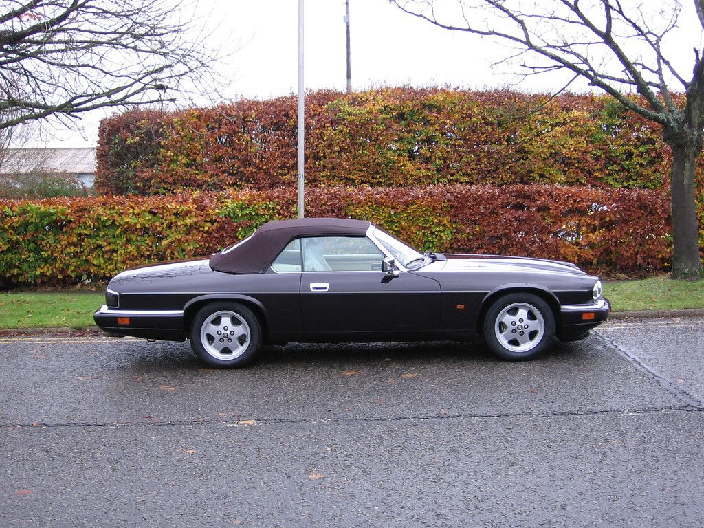 Jaguar XJS 4 litre convertible 1995. A beautiful example of a 4 litre AJ16 engined convertible in dark metallic cherry red (Jaguar Morocco red). KWE carried out a full new suspension, braking, and steering conversion.