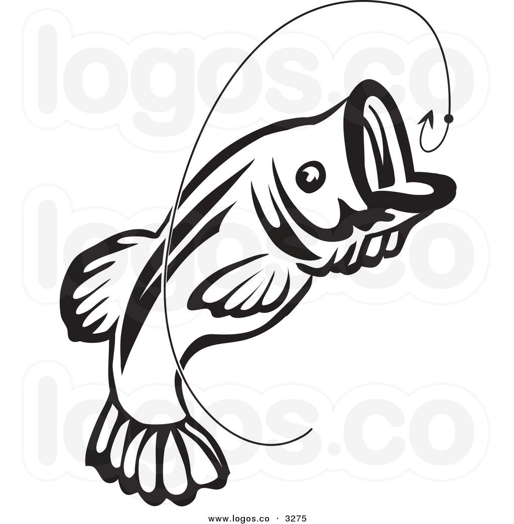 Royalty free vector of a jumping black and white fish and for Fish and hook