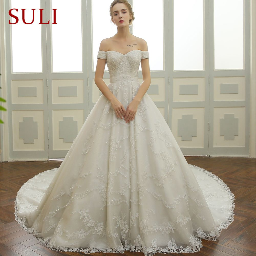 Sl new real picture beaded lace long train bridal wedding dress