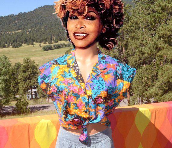 4761f94f vintage 90s blouse HAWAIIAN floral tie front half shirt crop top midriff  women's Large Medium hilo hattie