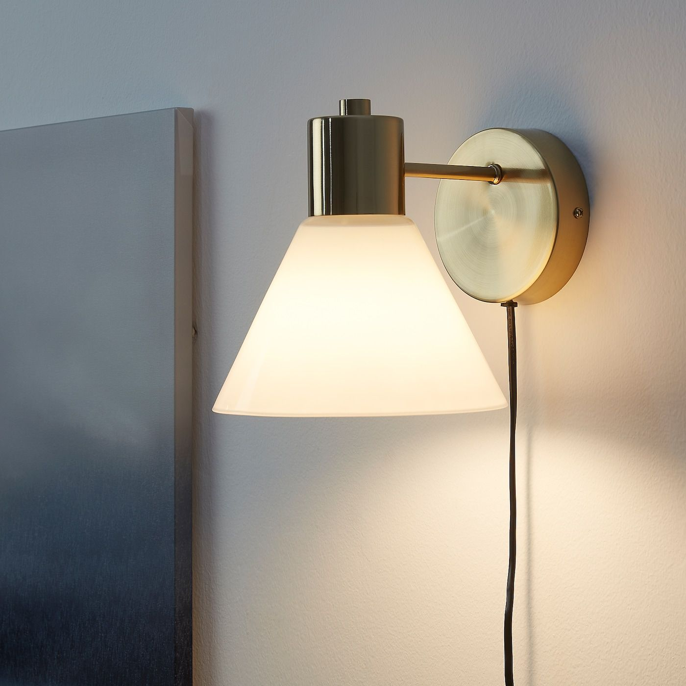 FLUGBO brass colour, glass, Floor