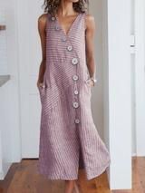 v neck color-block buttoned Sleeveless Plain Dresses