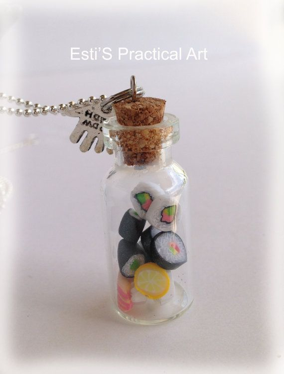 Sushi bottle necklace, mini food bottle pendant, charm necklace, polymer clay jewelry, personalised gift, Miniature Glass Bottle Necklace on Etsy, $14.67 CAD