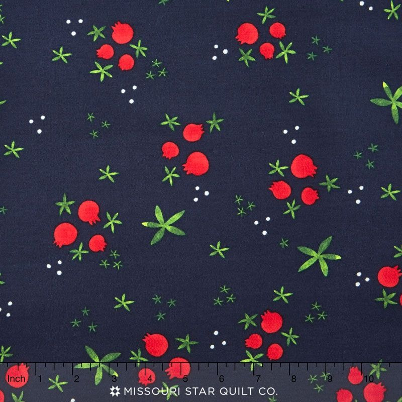 Tinsel - Navy Winter Pomegranates Yardage - Alexia Marcelle Abegg - Cotton+Steel