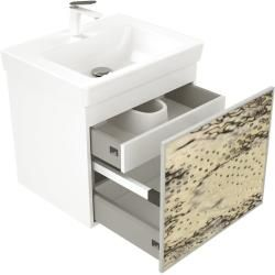 Photo of Bathroom furniture Wooden illuminated front bird's eye wood with Villeroy & Boch wash basin 60cm emotion
