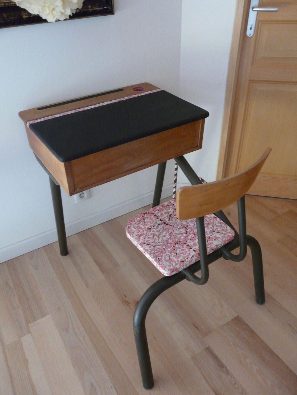 Conception et Plan petite table enfant : petit bureau d'écolier vintage rose et noir et sa chaise : Chambre ...