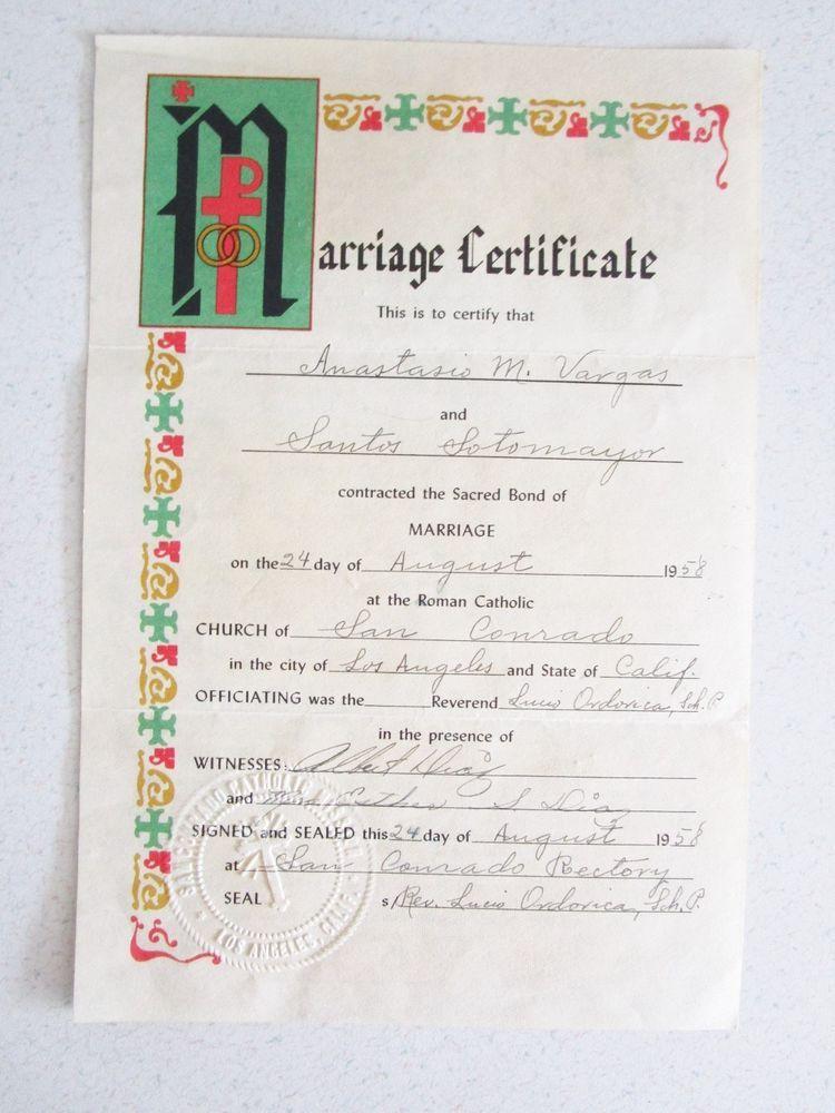 1958 Marriage Certificate Los Angeles Ca San Courado Catholic Church Ephemera