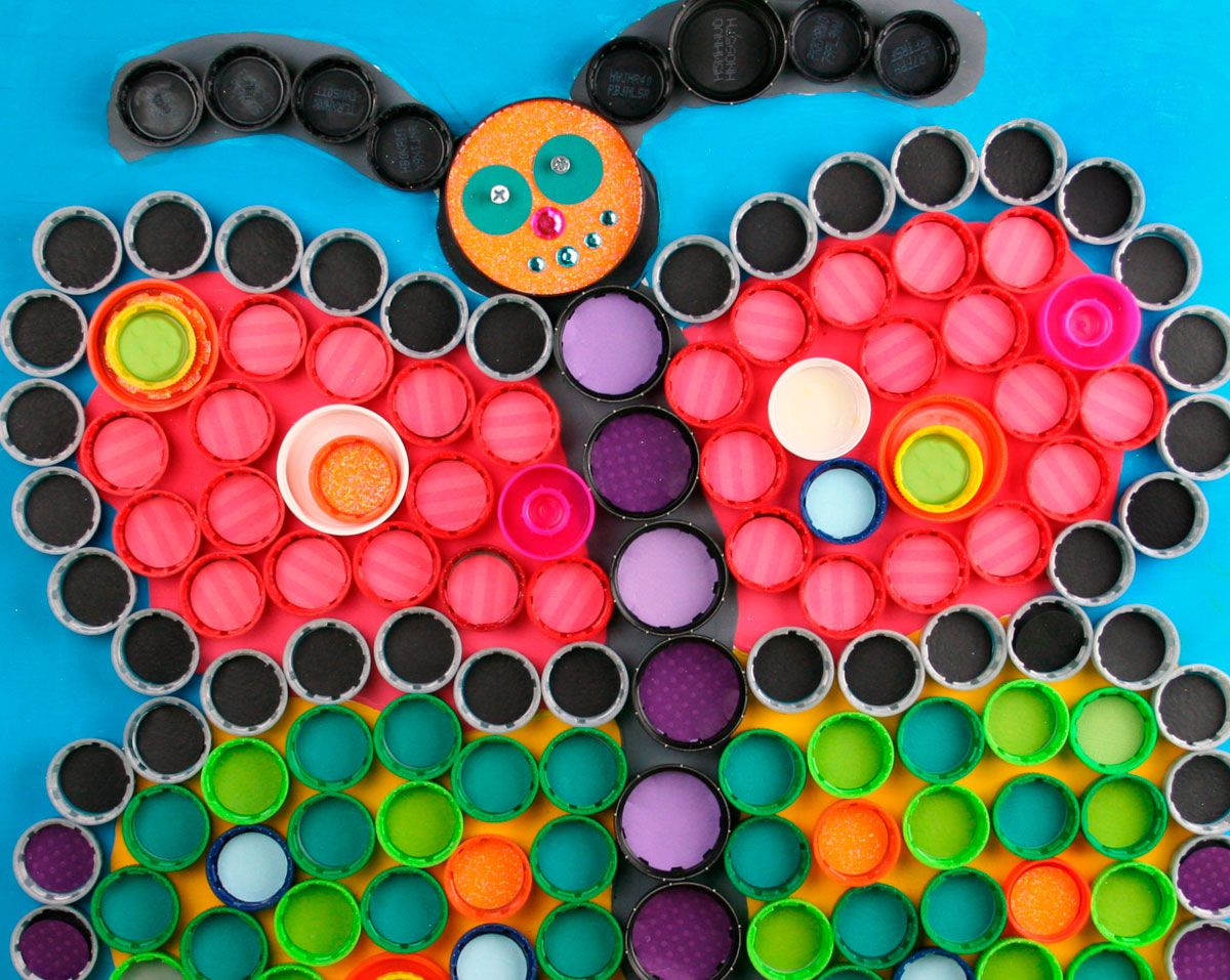 Upcycled Plastic Bottle Cap Art