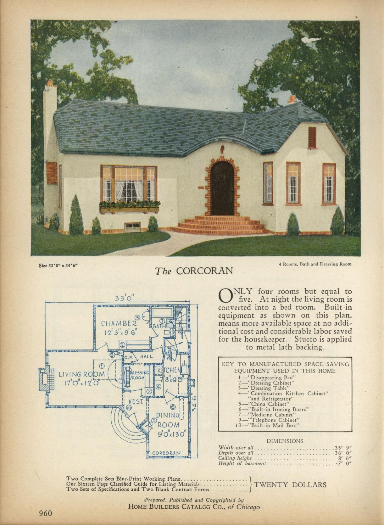 The Corcoran Home Builders Catalog Plans Of All Types Of Small Homes By Home Builders Catalog Co House Plans With Pictures House Plans Vintage House Plans