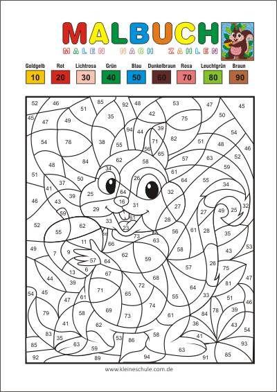 Malen nach Zahlen - Runden auf Zehner - Matheaufgaben für die 2 ...