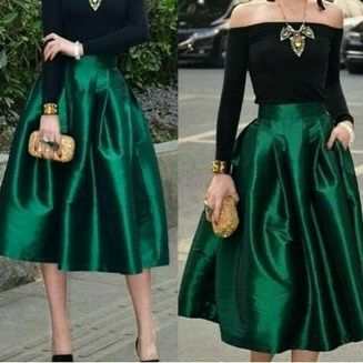 39+ Charming Christmas Party Outfits To Copy - Cocktail party skirt, Cocktail outfit, Green evening dress, Green midi skirt, Holiday outfits, Party skirt - Christmas costumes are here and it is that time of year again to get excited and be ready for trips to the malls, the office parties, and being the host of one at your house  The parties start the day