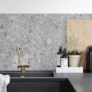 Granite Terrazzo Kitchen Backsplash Designer Wallpaper In 2021 Kitchen Splashback Terrazzo Kitchen Wall Decals