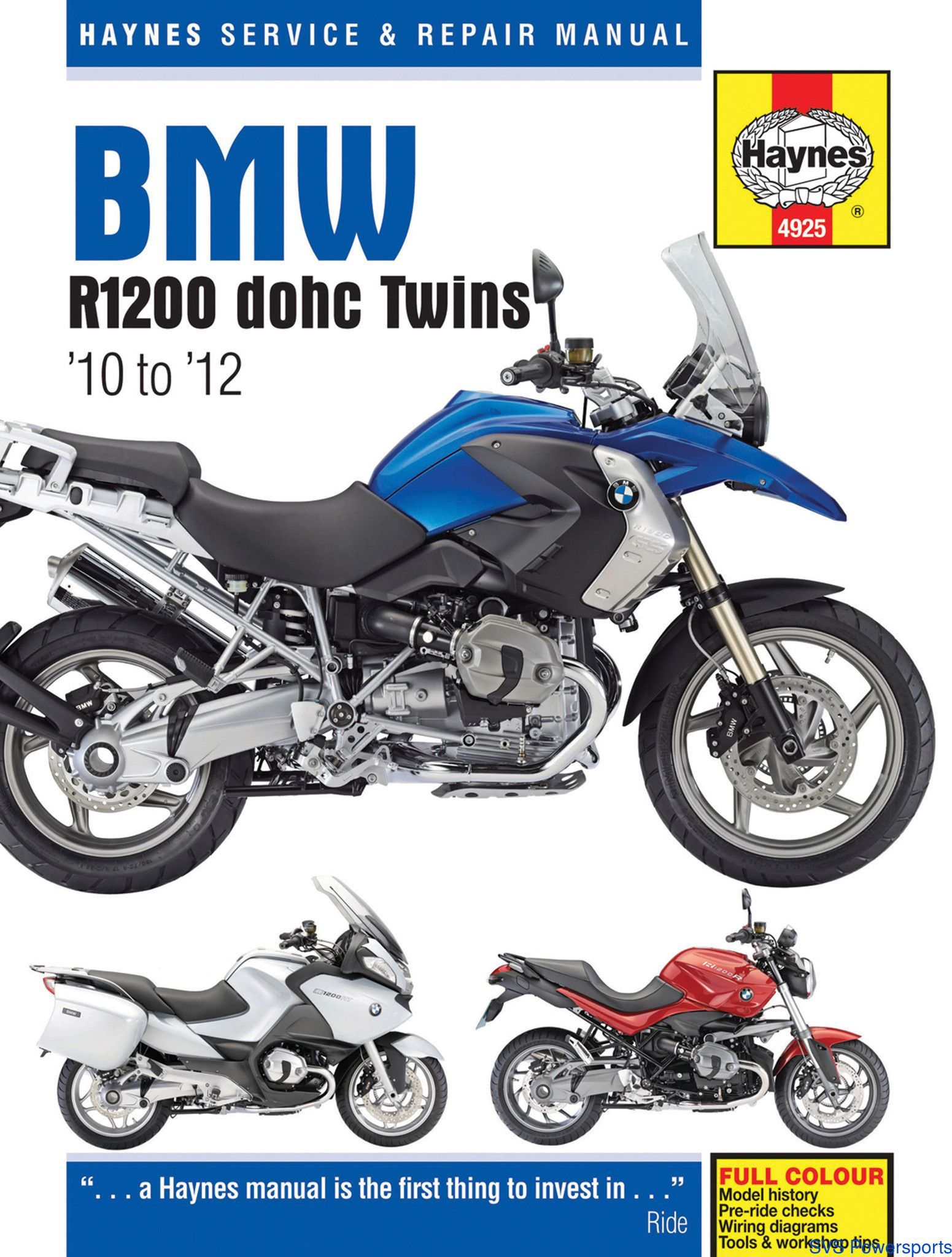 Haynes M4925 Repair Manual for 2010-12 BMW R1200 dohc Twins