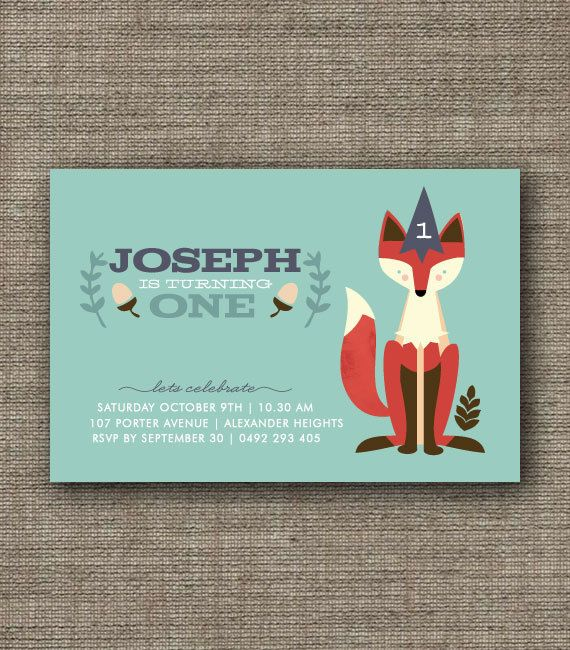 Fox Woodland Party Invitation for kids party 1st by BonjourBerry, $16.00