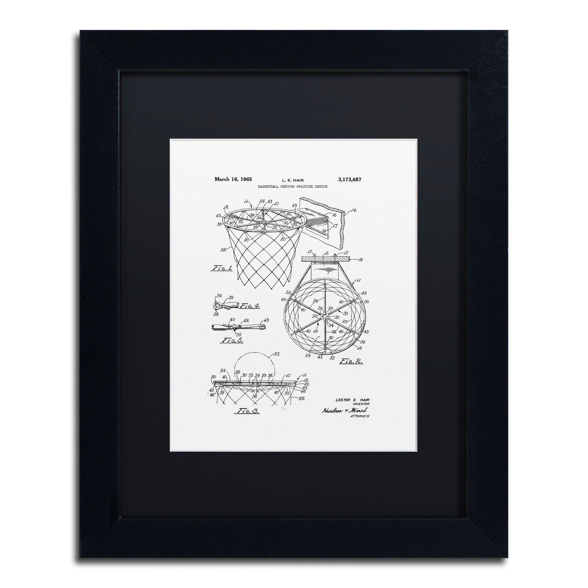 Claire Doherty \'Basketball Hoop Patent 1965 White\' Matted Framed Art ...