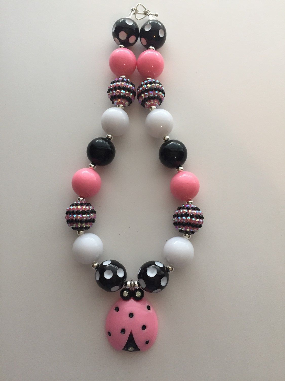 Ladybug Chunky Bead necklace by MissMelsCottage on Etsy