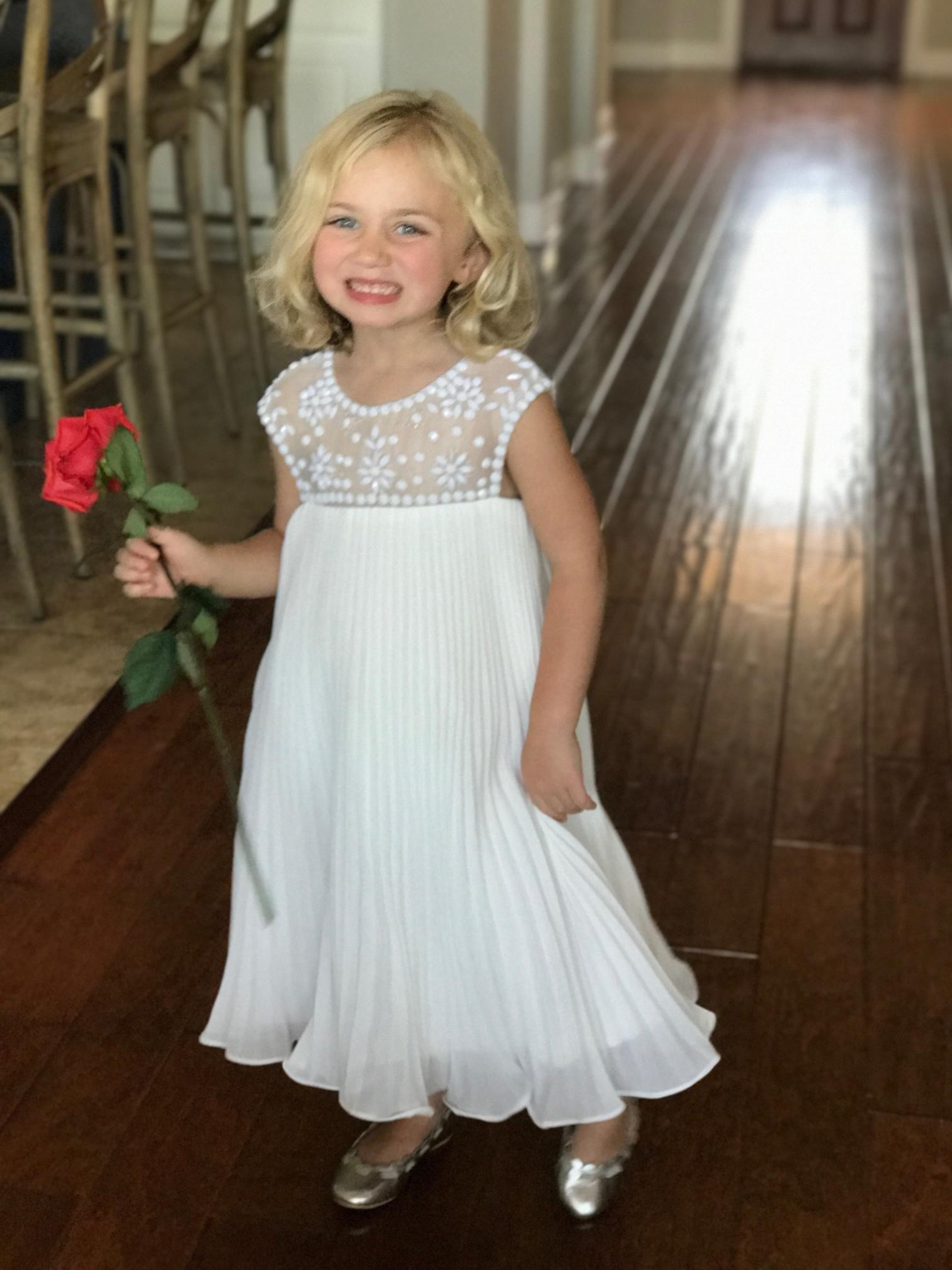 7bdf3a303 A-Line/Princess Knee-length Flower Girl Dress - Chiffon Sleeveless Scoop  Neck With Ruffles/Beading (010090966) - Flower Girl Dresses - JJsHouse