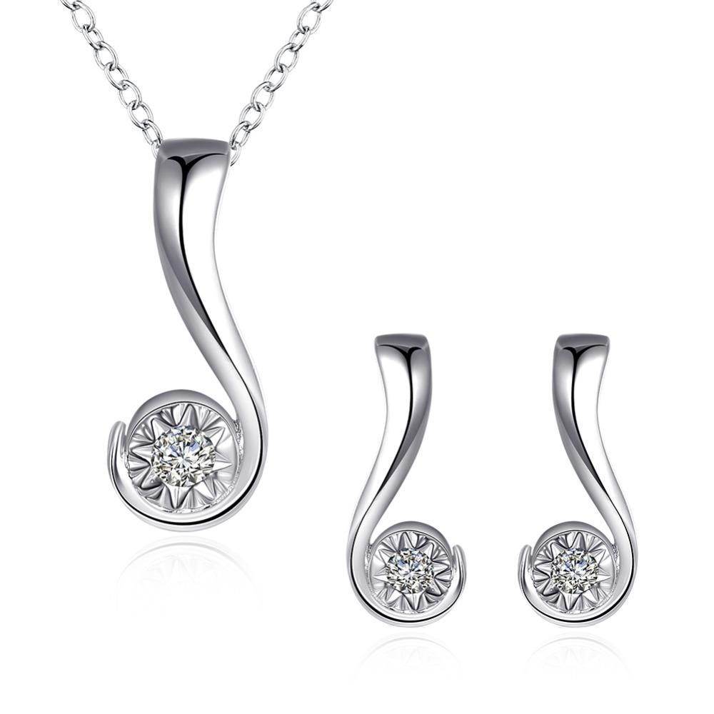 hot sales womenus silver jewelry set with zircon question mark