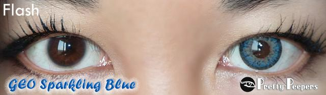 GEO Sparkling Blue Circle Lens.  Sparkling Blue colored contacts. I love the design of the lenses and the colour pay off.  The stock photos and model photos (found here) is really attractive.   The lens is 3 tone with a dashed limbal ring.  The ring is black, followed with a light blue middle, and finished with a light caramel-like colour along the pupil hole.  The lens isn't super opaque, which allows the pattern to blend with your natural eye colour.  The colour pay off for me  is a gorgeous medium blue, with a softer limbal ring finish, and a light center along the pupil hole.  Very exotic and striking and I absolutely love how this look in flash photos.  #circlelenses #circlelens #circlelense #colorcontacts #coloredcontacts #colorlens #makeup, #asian, #asiangirl, #contacts, #contactlens, #bluecontacts #eyecandys