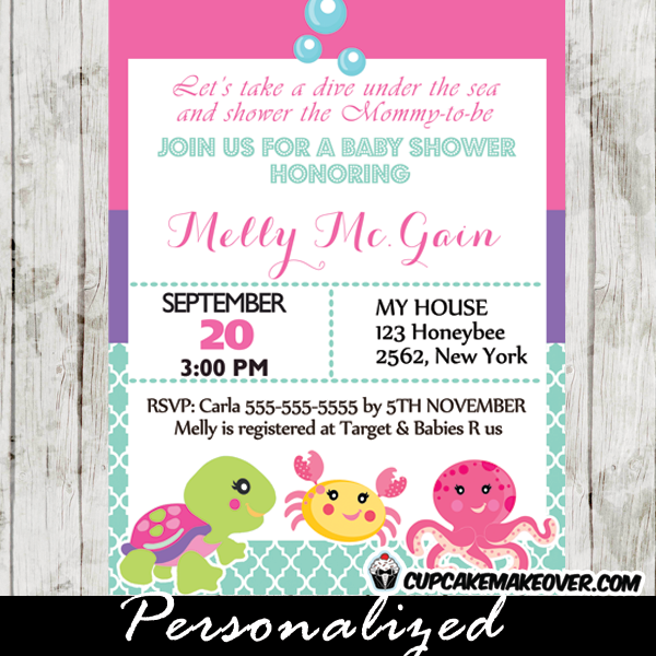 Under the sea baby shower invitation card for girls personalized printable under the sea baby shower invitation for girls this personalized ocean themed invitation card stopboris Image collections