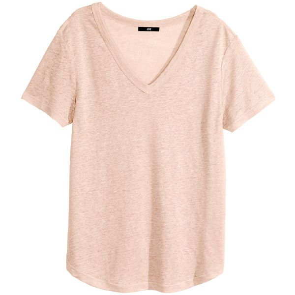 H&M Linen T-shirt ($5.80) ❤ liked on Polyvore featuring tops, t ...