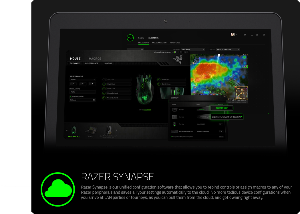 13df29d4976 Razer Synapse features hardware configurator that allows you to save all  your settings to the cloud, and optionally track in-game stats and heatmaps.