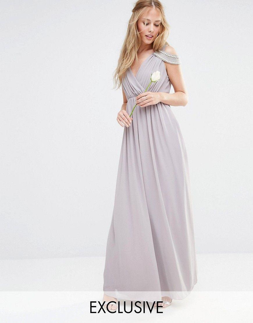 Image 1 of tfnc wedding cold shoulder wrap front maxi for Tfnc wedding wrap maxi dress