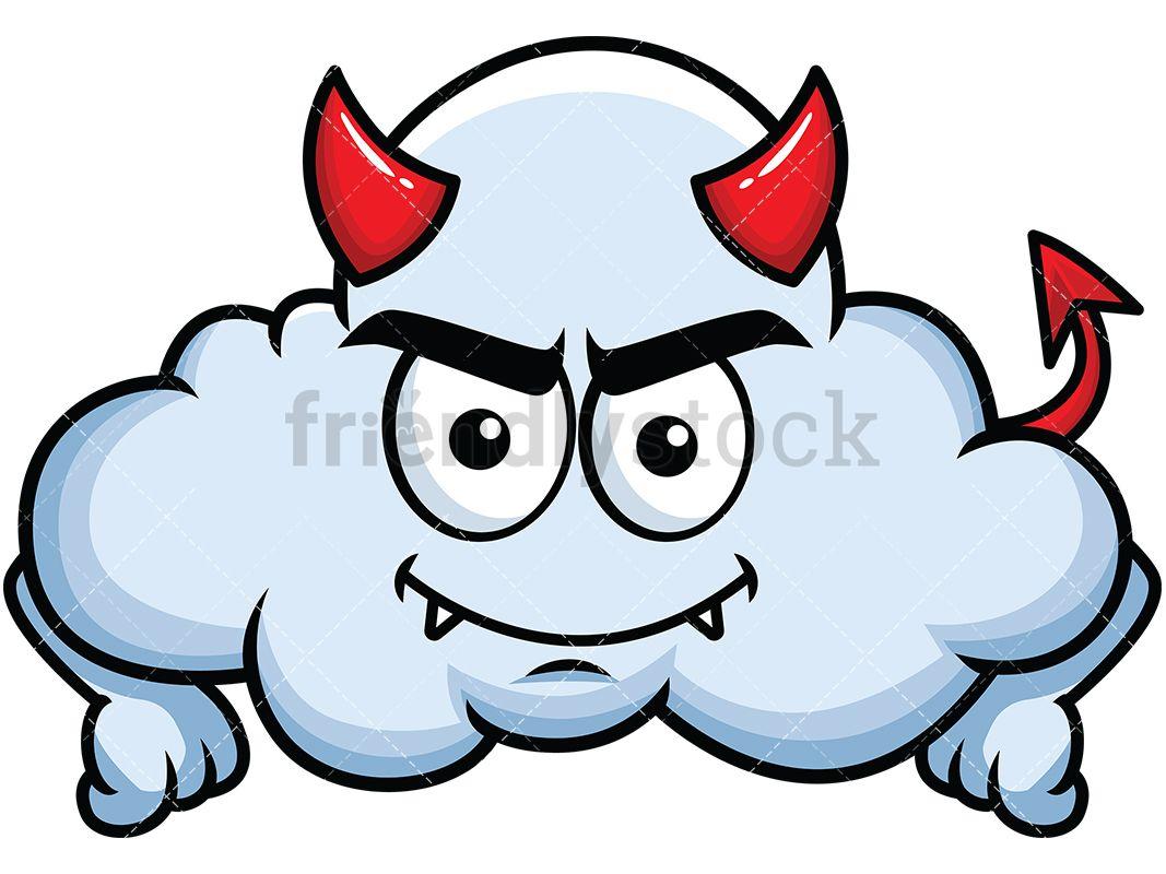 Crafty Devil Cloud Emoji | Emoji Clipart | Cloud emoji