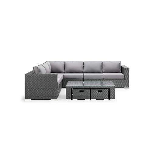 Luxury Milan Grey Rattan Garden Furniture Set 8 Seater Patio Outdoor