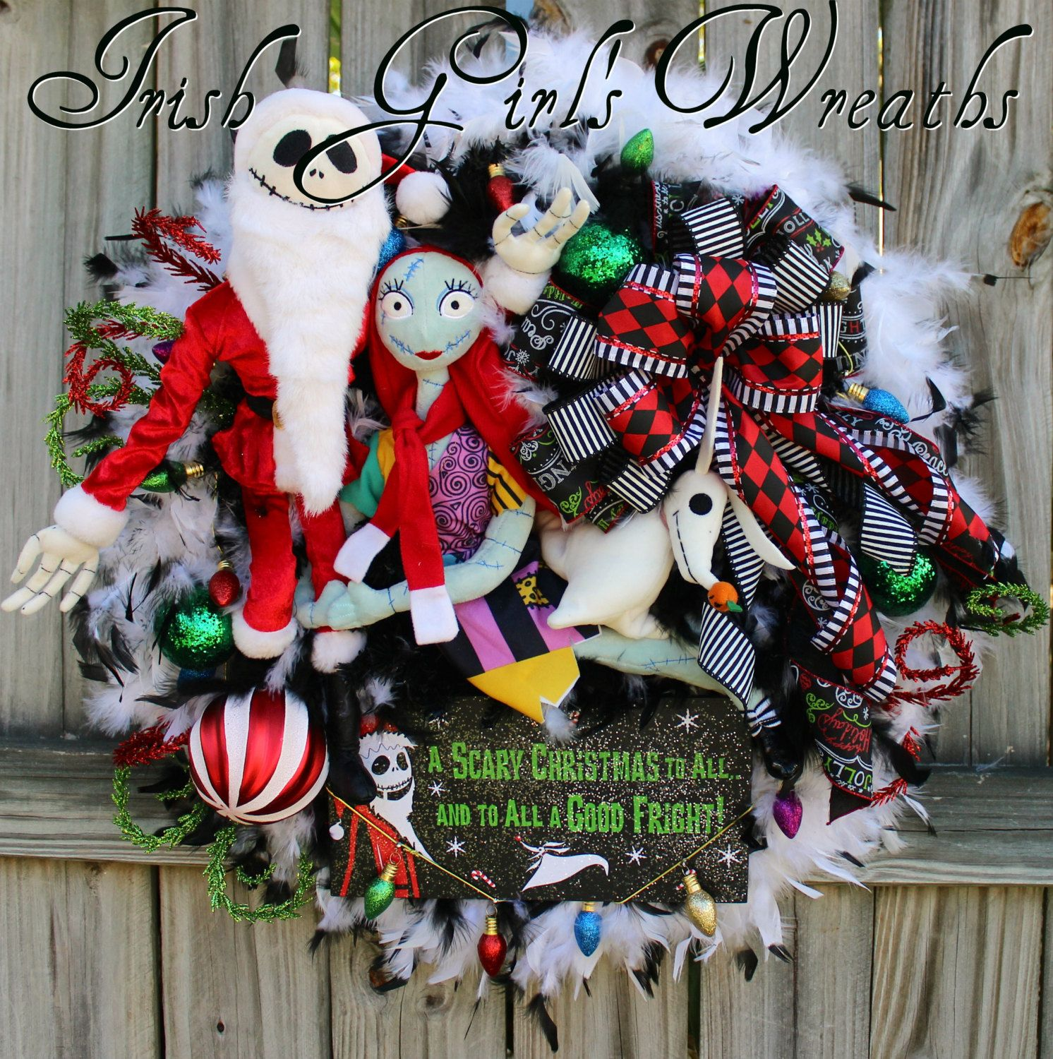 Sandy Claws Wreath, Deluxe Nightmare Before Christmas Wreath, Jack ...