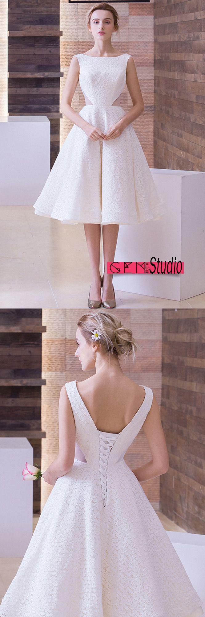A line backless tea length wedding dresses retro lace style