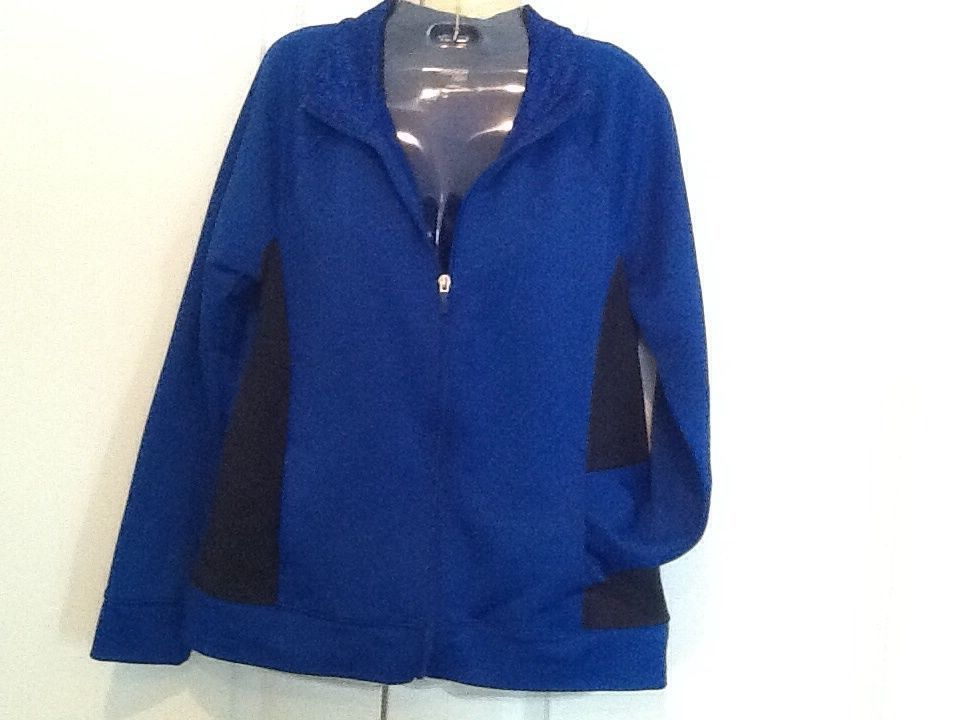 Womens Danskin Royal Blue Athletic Jacket size 12/14, 100% Polyester #Danskin #CoatsJackets